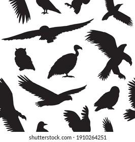 Vector seamless pattern of hand drawn wild predator bird silhouette isolated on white background