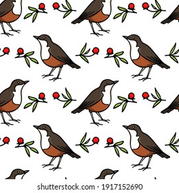 Vector seamless pattern with hand drawn sweet birds with red berries twigs made with ink. Beautiful animal design elements, perfect for prints and patterns