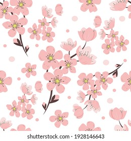 vector seamless pattern with hand drawn twigs and sakura flowers on a white background. Cherry blossoms. wedding pattern, floral pattern for printing on fabric, clothing, wrapping paper