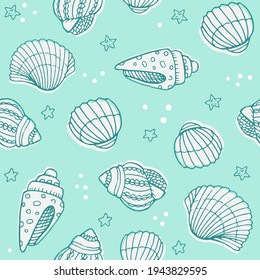 Vector seamless pattern with hand drawn scallop seashells, sea elements and stars. Beautiful marine design, perfect for prints and patterns, textile, fabric, children background