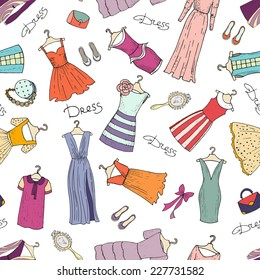 Vector seamless pattern with hand drawn, fashionable dresses and accessories. Background for use in design, web site, packing, textile, fabric