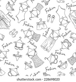 Vector seamless pattern with hand drawn underwear for women on white background. Background for use in design, web site, packing, textile, fabric