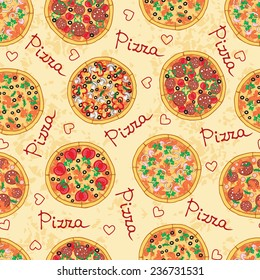 Vector seamless pattern with hand drawn and different pizza and ingredients. Background for use in design, web site, packing, textile, fabric