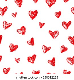 Vector seamless pattern with hand drawn textured hearts on white background. Perfect for romantic occasions such as Valentine's day.