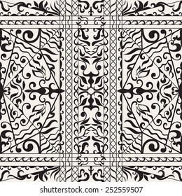 Vector seamless pattern, hand drawn sketch, tribal ethnic ornament, fabric texture. Monochrome background