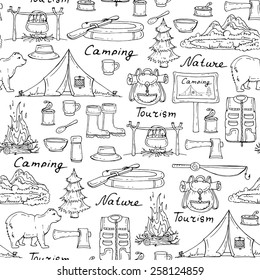 Vector seamless pattern with hand drawn tourism and camping symbols on white background. Background for use in design, web site, packing, textile, fabric