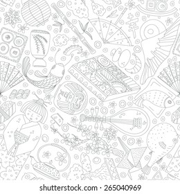 Vector seamless pattern with hand drawn japanese symbols, including geisha, sakura, bonsai, lantern. Cute unique doodle background for digital scrapbooking, wallpapers and fabric, travel website.