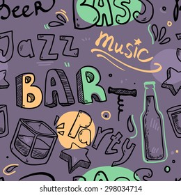 Vector seamless pattern with hand drawn icons words like jazz, music, bar, beer, party