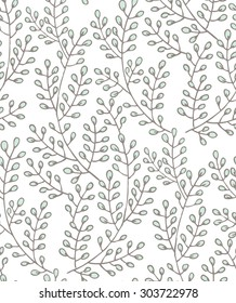 Vector seamless pattern of hand drawn branches. Floral pattern on white background.