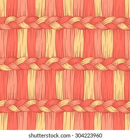 Vector seamless pattern with hand drawn abstract hair braid. Fiber color seamless pattern.