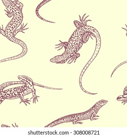 Vector seamless pattern with hand drawn lizards. Beautiful design elements, perfect for prints and patterns.