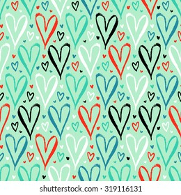 Vector seamless pattern with hand drawn hearts in turquoise color. Simple elegant, romantic background for Valentine day, Mothers day and other family events. Small ditsy chic print for textile design