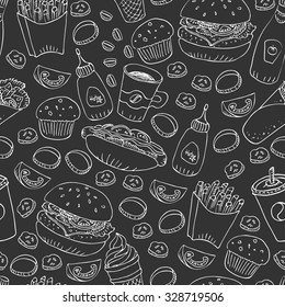 Vector seamless pattern. Hand drawn fast food doodle. Black and white illustration. Hot dog, burger, fries, soda, coffee and dessert for menu and web design.