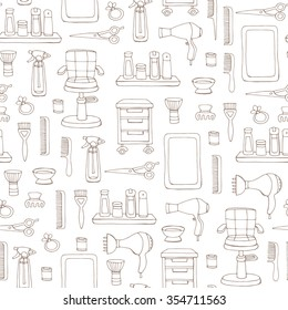 Vector seamless pattern with hand drawn symbols of hair salon on white color. Pattern on the theme of beauty and fashion. Background for use in design, packing, textile, fabric