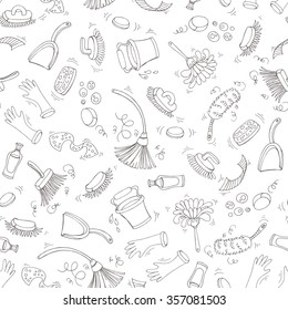 Vector seamless pattern with hand drawn symbols of cleaning service on white color. Pattern on the theme of cleanliness. Background for use in design, packing, textile, fabric