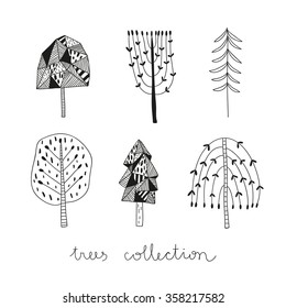 vector seamless pattern with hand drawn tree