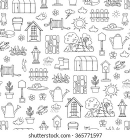 Vector seamless pattern with hand drawn isolated symbols of spring and garden on white color. Background for use in design, packing, textile, fabric