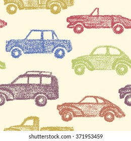 Vector seamless pattern with hand drawn vintage cars made in textured way. Beautiful design elements, perfect for nursery.