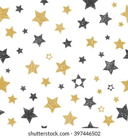 Vector seamless pattern with hand drawn stars. Vector illustration