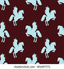 Vector seamless pattern with hand drawn silhouettes Pegasus. In burgundy and blue colors.