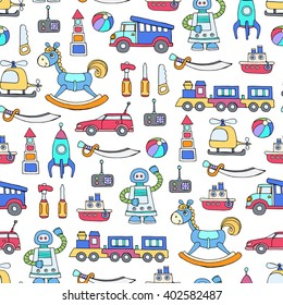 Vector seamless pattern with hand drawn colored toys for boys.  Pattern on the theme of activities for children, games. Background for use in design, packing, web site, fabric