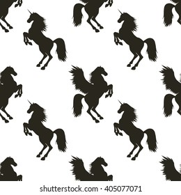 Vector seamless pattern with hand drawn silhouettes Pegasus and Unicorn. In black and white colors.