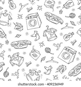 Vector seamless pattern with hand drawn washing symbols on white color.  Pattern on the theme of laundry.  Background for use in design, packing, web site, fabric