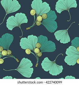 Vector seamless pattern with hand drawn leaves and branch of ginkgo biloba.