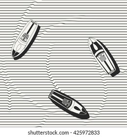 Vector seamless pattern. Hand drawn speedboats in the sea - monochrome repeating background for fabric, wallpapers and prints. Isolated vector illustration.