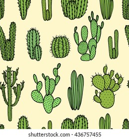 Vector seamless pattern with hand drawn cactus. Beautiful floral drawing.