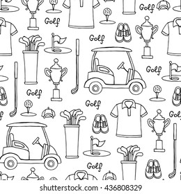 Vector seamless pattern with hand drawn symbols of golf on white color.  Pattern on the theme of hobby, game, recreation.  Background for use in design, packing, web site, fabric
