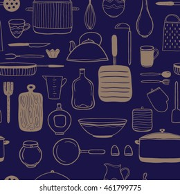 Vector seamless pattern. Hand drawn background with kitchen utensils.Sketch and craft style. Perfect for printing.