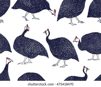 Vector seamless pattern with hand drawn guinea fowl. Beautiful design elements.