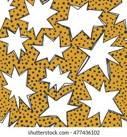 Vector seamless pattern with hand drawn stars and dots.Good for birthday party invitation and greeting cards.