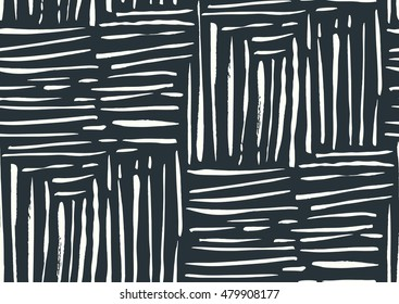 Vector seamless pattern with hand drawn gold glitter textured brush strokes and stripes hand painted. Black, white colors.
