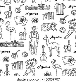 Vector seamless pattern with hand drawn isolated symbols of Argentina on white color. Pattern on the theme of travel and tourism. Background for use in design, packing, web site, fabric