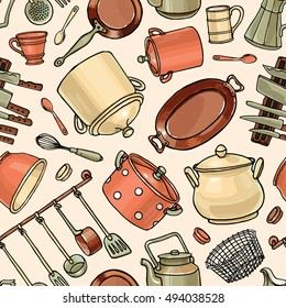 Vector seamless pattern with hand drawn vintage kitchenware. Illustration for backgrounds, web design, textile prints, covers, greeting cards.