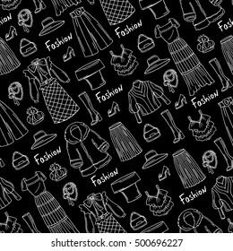 Vector seamless pattern with hand drawn isolated fashionable clothes for ladies on black color. Pattern on the theme of fashion, beauty. Background for use in design, packing, web site, fabric