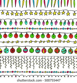 Vector seamless pattern with hand drawn holiday festoons. Hand drawn borders of light bulbs, Christmas balls and stars. Beautiful Christmas and New Year design elements.