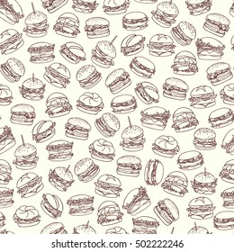 Vector seamless pattern with hand drawn delicious burgers. Beautiful food design elements, perfect for prints and patterns