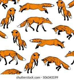 Vector seamless pattern with hand drawn hunting foxes made with pen and ink. Realistic illustration of jumping foxes, made in vintage style. Beautiful animal design elements.