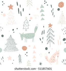 vector seamless pattern with hand drawn foxes and Christmas trees