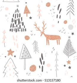 vector seamless pattern with hand drawn deer and Christmas trees