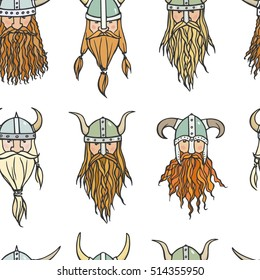 Vector seamless pattern with hand drawn heads of bearded vikings with helmets on. Vector illustration of northern rough warriors. Heavy contour, graphic style.