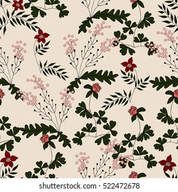 Vector seamless pattern from hand drawn herbs of lady's purse, clover. For fabric, cloth design, wallpaper, print, textile, covers. Recommended for use in clothing and interiors.