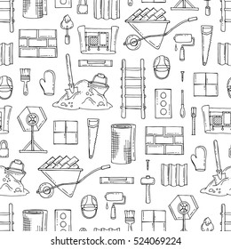 Vector seamless pattern with hand drawn isolated construction materials on white color. Pattern on the theme of building. Background for use in design, packing, fabric