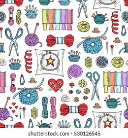 Vector seamless pattern with hand drawn colored goods for needlework and creativity. Pattern on the theme of sewing. Background for use in design, packing, fabric