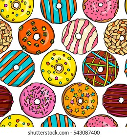 Vector seamless pattern with hand drawn delicious donuts. Beautiful food design elements, perfect for prints and patterns