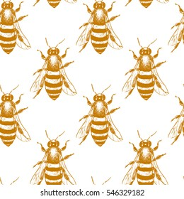 Vector seamless pattern with hand drawn honey bees made in retro style. Beautiful ink drawing