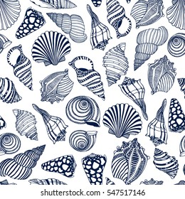 Vector seamless pattern with hand drawn seashells. Beautiful marine design elements, perfect for prints and patterns.
